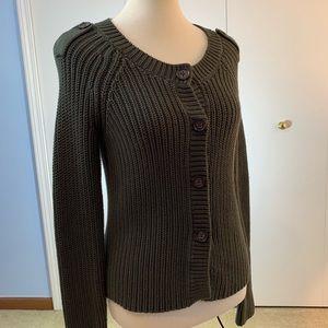 Banana Republic S sweater olive green knit 4 snaps